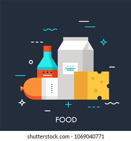 Milk, sausage, cheese and sauce. Online grocery shopping and supermarket food delivery service concept, fresh market products icon. Vector illustration in flat style for website, banner, badge.