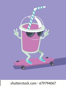 Milk shake character skating on longboard flat vector