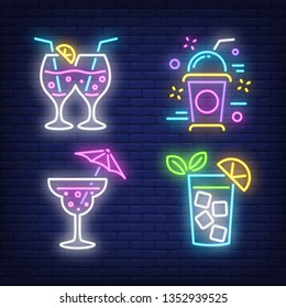 Milk shake, cocktails and lemonade glass neon signs set. Cocktail party or bar design. Night bright neon sign, colorful billboard, light banner. Vector illustration in neon style.