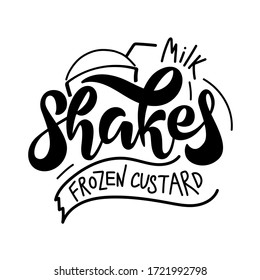 Milk shake logo, icon and label for your design. Hand drawn vector illustration. Can be used for cafe, restaurant, bar, food studio, poster, sticker, shop, kitchen classes, emblem, sticker, badge.