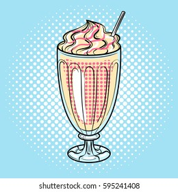 Milk shake pop art hand drawn vector illustration.