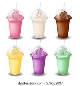 milk shake set on white background