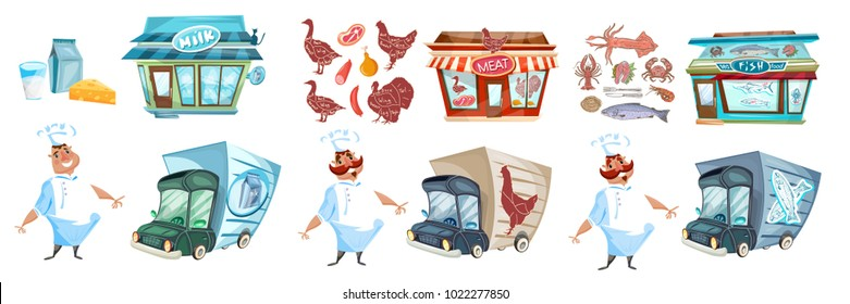 Milk shop, butcher and fish cartoon collection