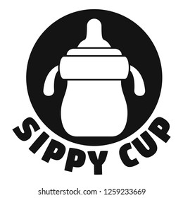 Milk sippy cup logo. Simple illustration of milk sippy cup vector logo for web design isolated on white background