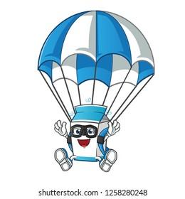milk skydiving mascot vector cartoon illustration
