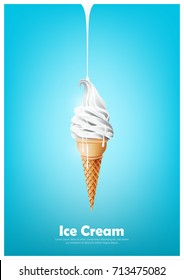 Milk soft ice cream in the cone, Pour melted milk, Vector illustration