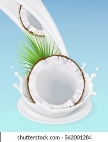 Milk splash and coconut, 3d vector object. Natural dairy products