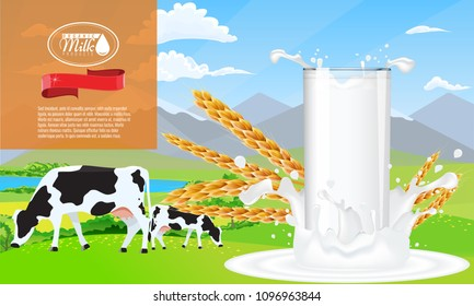 Milk splash and farm ad template layout, with milk pouring white space.