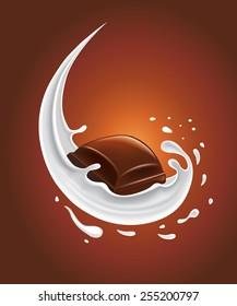 milk splash with piece of chocolate