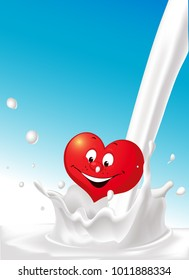 milk splash pour milk love heart cartoon design - vector illustration