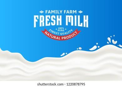 Milk splash vector illustration on a blue background. Milk, yogurt or cream shape creative illustration. Modern style milk logo.