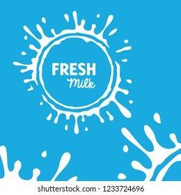 Milk Splash Water White Color in Blue Background Healthy drink Fresh