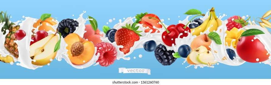 Milk splash. Yogurt with fruits and berries. Strawberry, raspberry, banana, peach, apricot, blackberry, blueberry, pineapple, mango, oat. 3d vector realistic set