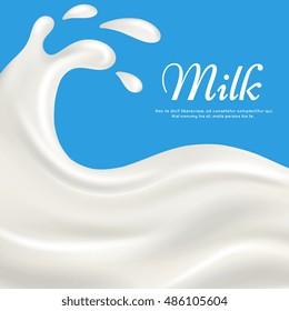 Milk with splashes realistic vector illustration. Pouring cream yogurt background
