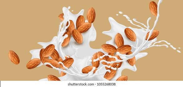 Milk splashing effect with almond in 3d illustration for design uses