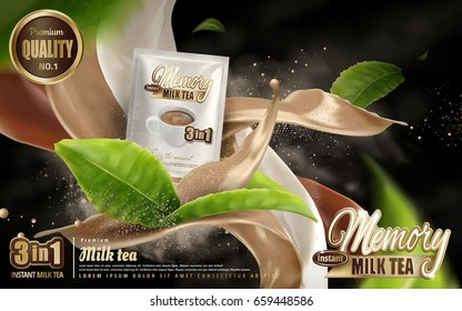 milk tea instant drink ad, smoke with mixed beverage flow effects and cup, with flying tea leaf elements, 3d illustration