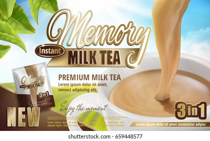 milk tea pouring down in cup with product package and tea leaves, field background 3d illustration