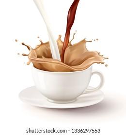 Milk tea pouring down into white mug, 3d illustration