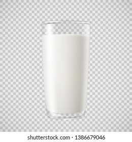 Milk in transparent glass, for your design, vector illustration