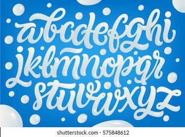 Milk, yogurt or cream alphabet set. White letters on blue background. Dairy design elements.