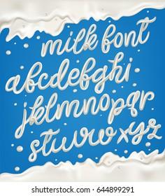 Milk, yogurt or cream alphabet set with border, splashes and drops.