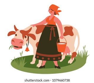 milkmaid with a bucket of milk pats a cow. vector illustration