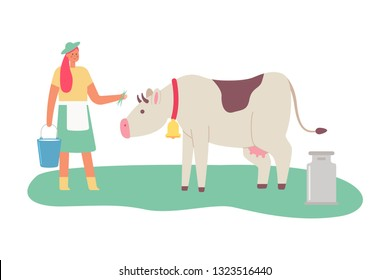 Milkmaid with a cow and a bucket of milk. Vector cartoon flat illustration of a female woman isolated on white background.