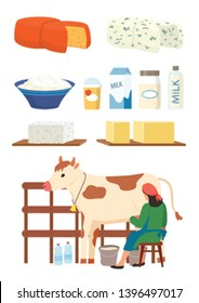 Milkmaid and dairy products set vector, isolated woman with cow, cottage cheese and milk in packages and bottles, productions for sale flat style