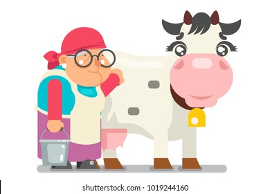 Milkmaid farmer granny adult rancher old age woman peasant character cartoon villager flat isolated design vector illustration