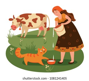 the milkmaid feeds the cat by the milk. Woman, cow and cat on the meadow vector illustration
