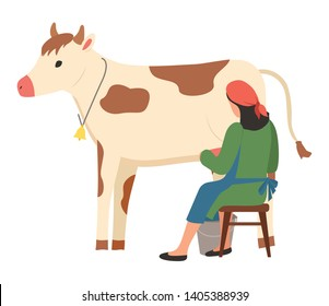 Milkmaid sitting on chair milking cow, back view of woman wearing apron pouring milk into bucket, standing farm animal, ranch element, cattle vector
