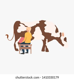 Milkmaid vector illustration. Woman milking cow. Farming concept. Illustration can be used for topics like agriculture, ranching cattle, fresh milk