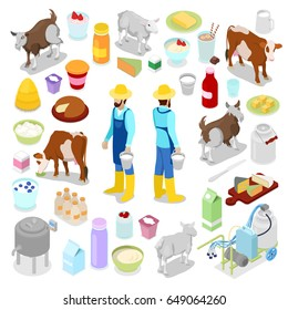 Milkman with Bottle of Milk, Cow and Cheese. Dairy Product. Isometric vector flat 3d illustration
