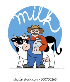 The milkman and a cow. In the hands of the jug of milk. Vector illustration