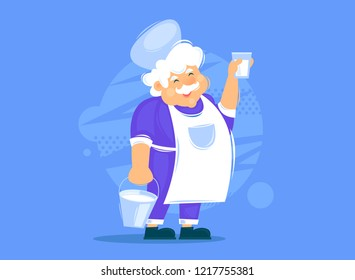 Milkman holds a bucket with milk. Flat design vector illustration