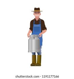 Milkman holds a milk churn. Vector illustration isolated on white background