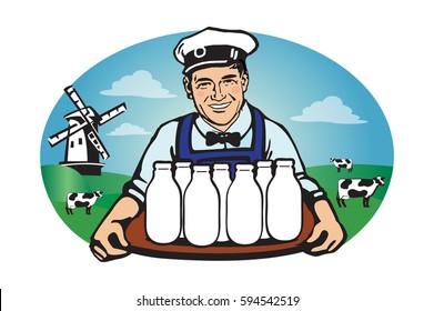 Milkman with a tray logo