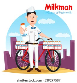 Milkman in uniform holding bottle of milk and bicycle with basket. Transport of natural and healthy cow drink with calcium. Transportation and cargo, beverage shipping service, organic drink theme