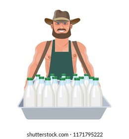 Milkman with a vending tray. Vector illustration isolated on white background