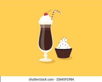Milkshake dessert with icing chocolate and cherries and cupcake. Flat vector illustration. Yellow background.