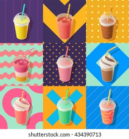 milkshake or smoothie take away cups, isometric vector illustration