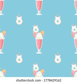 Milkshake with Unicorn Donut.  Seamless Vector Patterns on Isolated Background