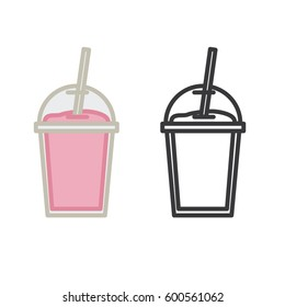 Milkshake. Vector icons. Colorful and outline.
