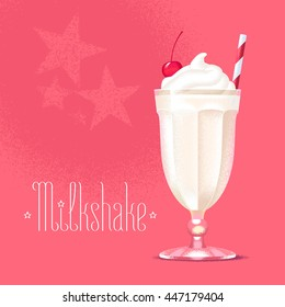 Milkshake vector illustration, design element. Isolated cartoon glass and straw with milk shake and ice cream