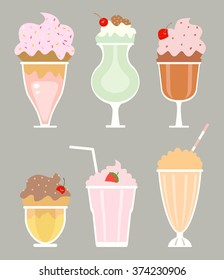 milkshakes with cream, berries, vector art.