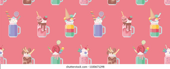 Milkshakes seamless pattern. Cartoon style. Vector illustration.