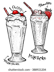 Milkshakes with strawberry and cherry, cream isolated. Vector dessert of different hand drawn food.
