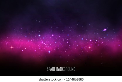Milky way background. Pink and purple concept. Stardust and shining stars. Colorful galaxy with nebula and stars. Abstract futuristic backdrop. Vector Illustration.