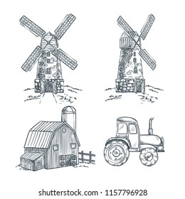 Mill, barn and tractor vector sketch illustration. Farming and harvesting hand drawn design elements.