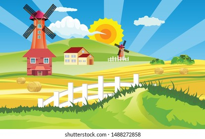 Mill farm, Countryside landscape, gold field with harvest, windmill, farmland, village, vector illustration